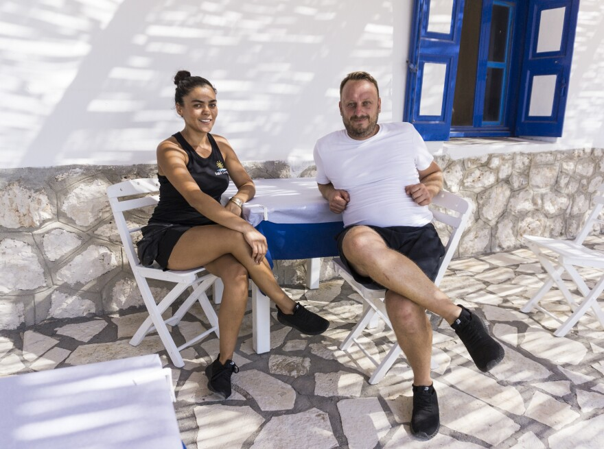 Kykkos Magiafis, a Greek who grew up on Kastellorizo, met his Turkish wife, Hurigul Bakirci, almost 10 years ago in the Turkish town of Kas, which is just a 10-minute speedboat ride from the island. They run a beach and lunch bistro on the nearby islet of Kastellorizo.