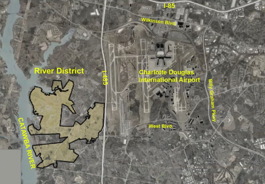 The proposed River District development is on about 1,400 acres between I-485 and the Catawba River.