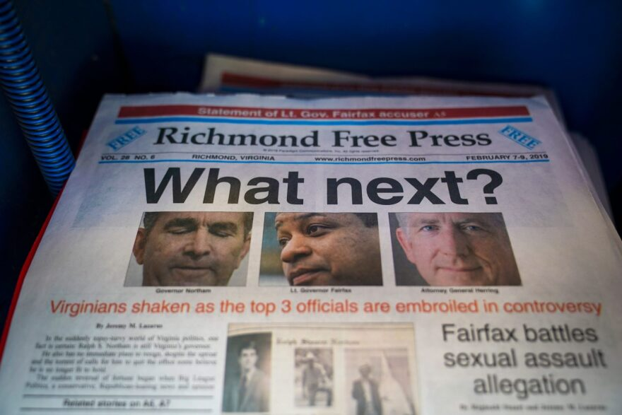A local newspaper the Richmond Free Press, with a front page featuring top Virginia state officials embroiled in controversies, sits for sale in a newsstand near the Virginia State Capitol in Richmond, Virginia.