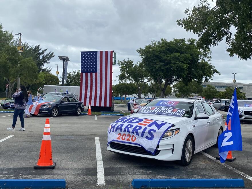 Car At Biden Drive-In Rally