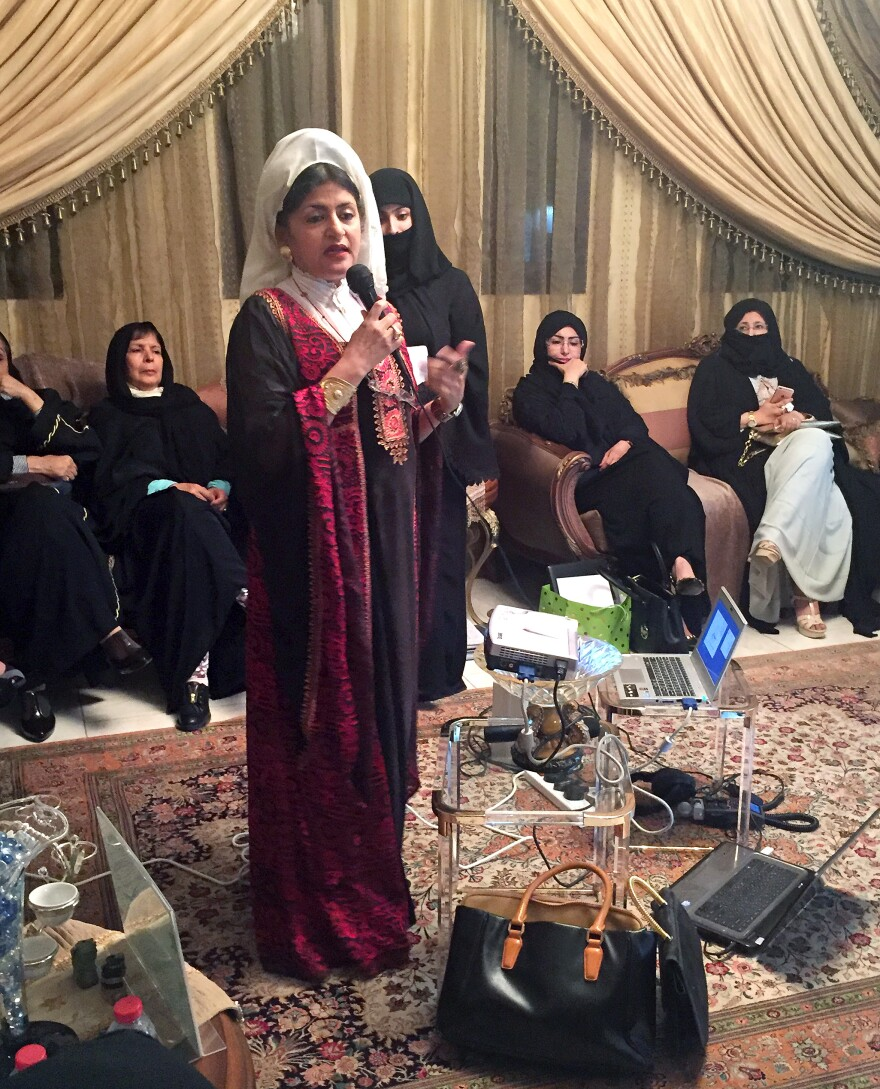 Hatoon al-Fassi, a Saudi professor and a leading advocate of women's rights, speaks at a political meeting for women in Riyadh.