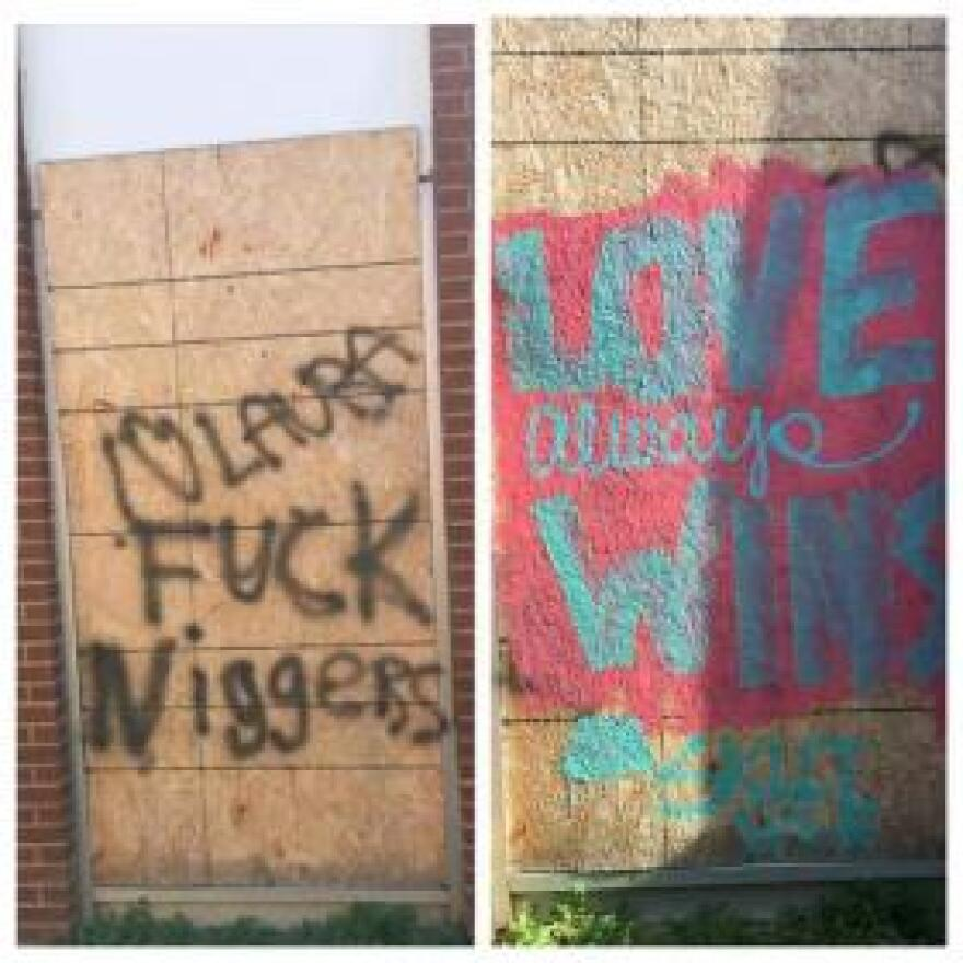 Before and after: Two days after the election a shuttered hospital, which for more than a century served both blacks and whites, was tagged with hate speech. Olivia Trimble, a local sign painter, took action.