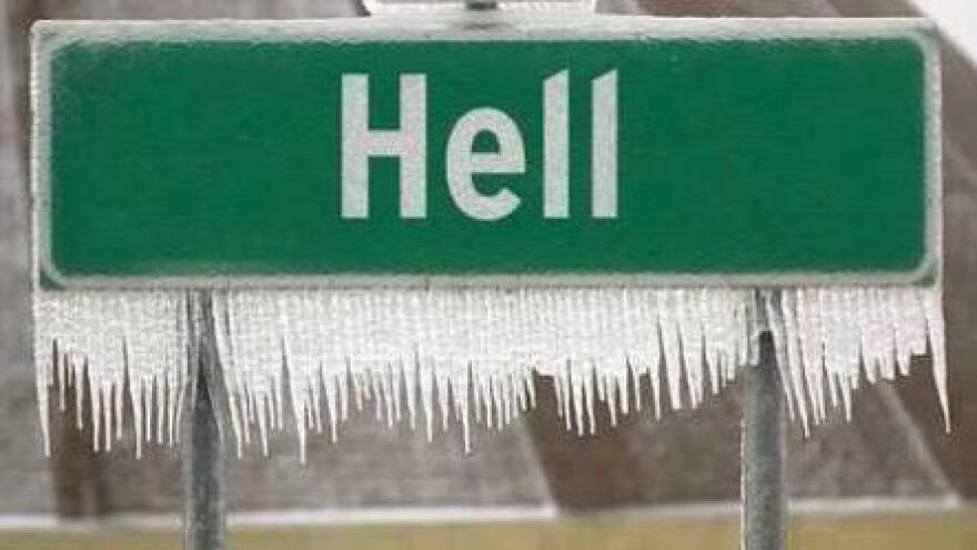 Hell, Mich., is embracing its frozen fame. The town's Facebook page now features this photo from 2003.