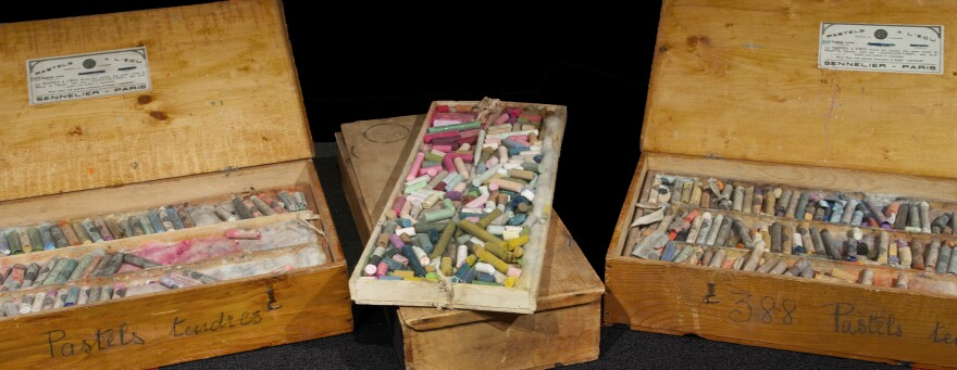 """These pastel boxes originally owned by Mary Cassatt were acquired recently by the National Gallery of Art. <a href=""""http://media.npr.org/assets/img/2014/09/22/marycassattpastels-01_archive.jpg"""">Click here for a closer look.</a>"""