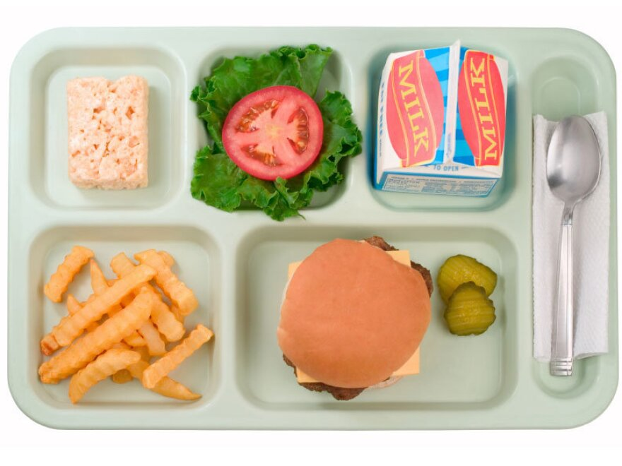 A traditional school lunch, sorted on a plastic tray