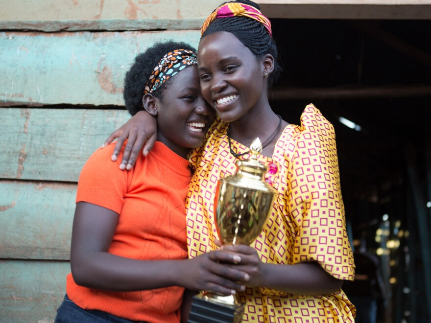 First-time film actress Madina Nalwanga (left) says she often copied co-star Lupita Nyong'o's warm-up exercises on the set of <em>Queen of Katwe</em>.