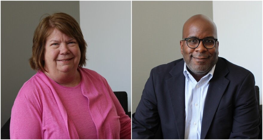 Kate Reese (left) and David Young (right) discussed housing needs in the region and the role the St. Louis Housing Partnership plays in meeting them. Bruce Dorpalen joined the conversation by phone to provide statistics on national housing efforts.
