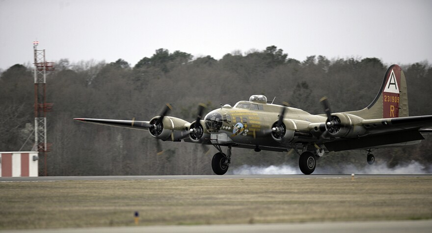 A B-17 flying fortress WWII bomber belonging to the Collings Foundation landing in Texas in 2010. It's not clear if this is the same B-17 that crashed on Wednesday.