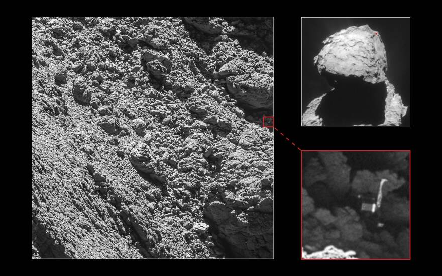 Photos taken on Friday, from more than a mile and a half from the comet, show Philae's three-foot-wide body and two of its three legs. The April 2015 image on the top right shows the comet overall, with the approximate location of Philae marked with a red dot.