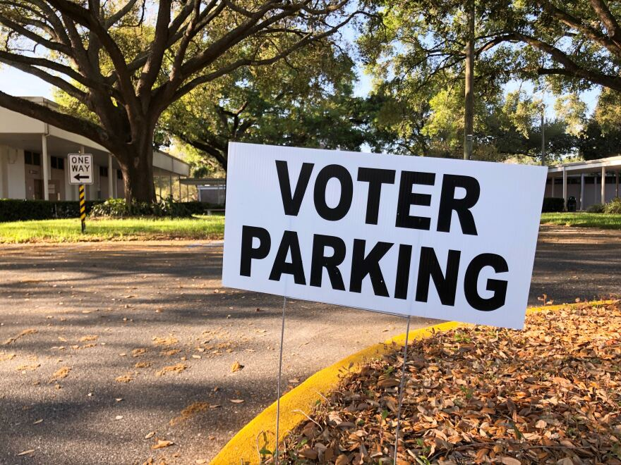sign that says voter parking.