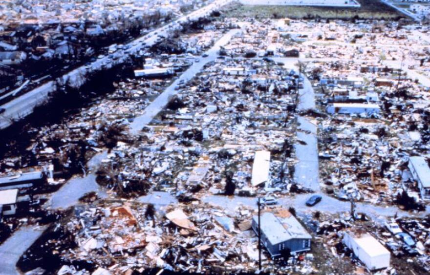 A mobile home park leveled by Hurricane Andrew.