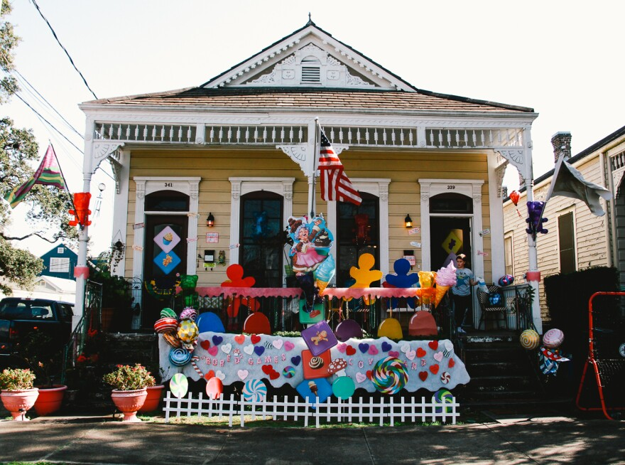 "The ""Candyland"" themed house float of Chrissy Whalin and her 12-year-old son Zephyr Cooke is one of more than a hundred in the Algiers Point neighborhood of New Orleans."