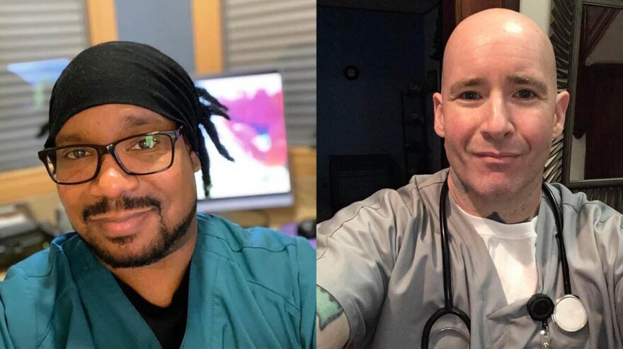Friends for 30 years, Sam Dow (left) in Ann Arbor, Mich., and Josh Belser in Syracuse, N.Y., are both working on the front lines of the coronavirus pandemic.
