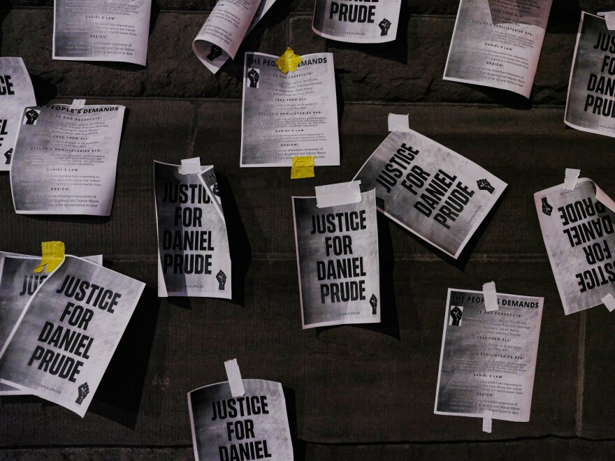 "Signs calling for ""Justice for Daniel Prude"" were plastered to the exterior walls of City Hall in Rochester, New York on Sept. 8, 2020, the seventh consecutive night of protests following the release of bodycam footage showing the March arrest that preceded his death."