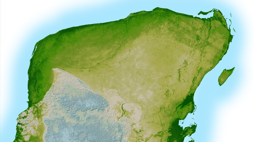 The Chicxulub crater from the impact that's widely believed to have caused the Cretaceous-Tertiary Extinction 65.5 million years ago is visible here in a shaded relief image of Mexico's Yucatan Peninsula.