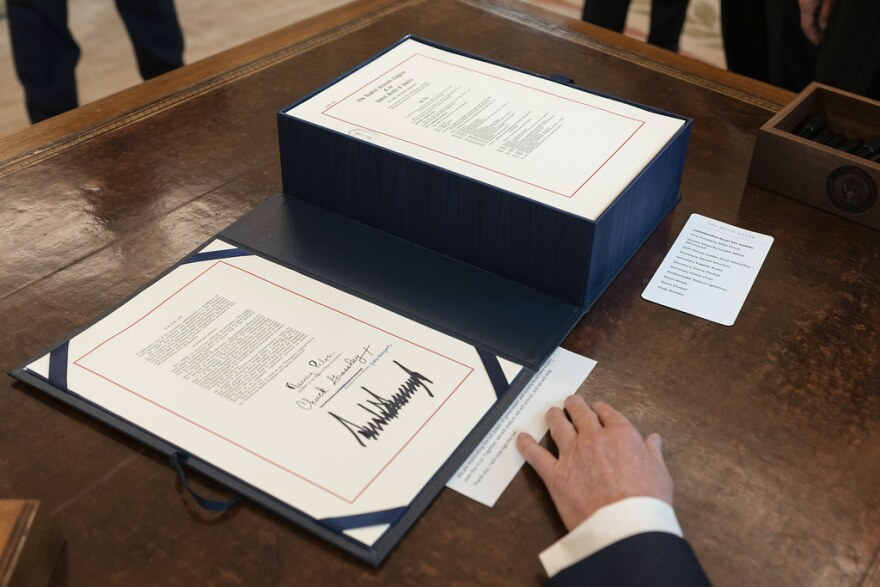 President Donald J. Trump's signature is seen on H.R. 748, the CARES Act, the $2.2 trillion assistance package to help American workers, small businesses and industries crippled by the economic disruption caused by the coronavirus (COVID-19) outbreak.
