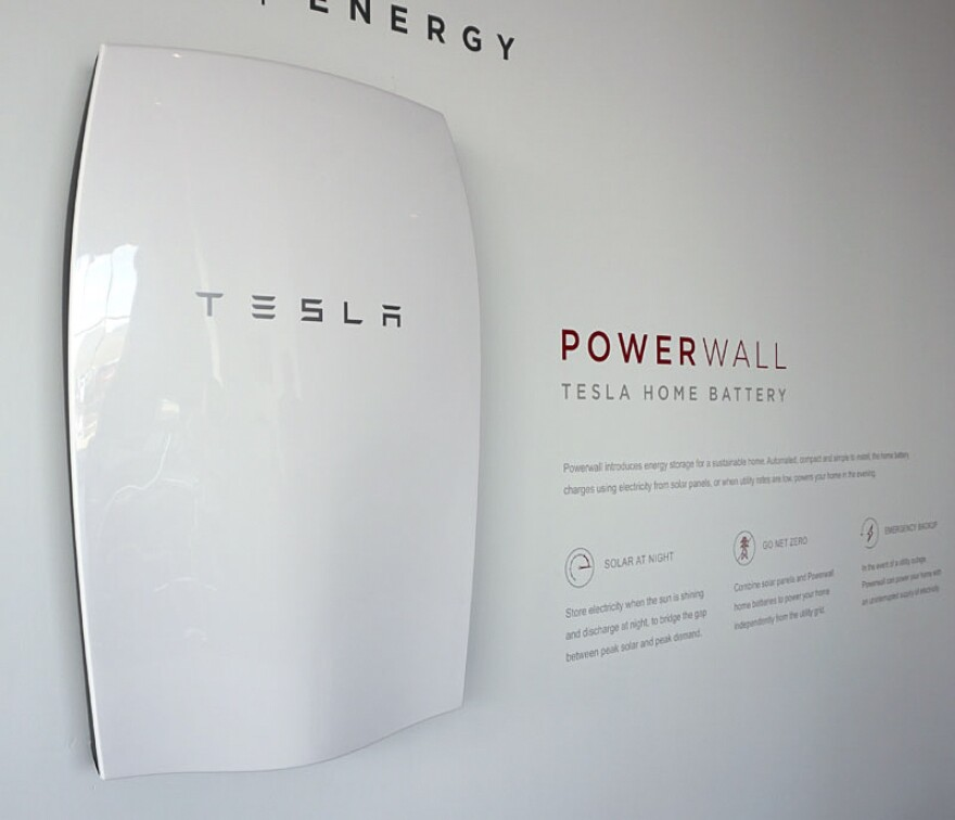 The Powerwall, a battery designed to store electricity from solar panels in average homes.