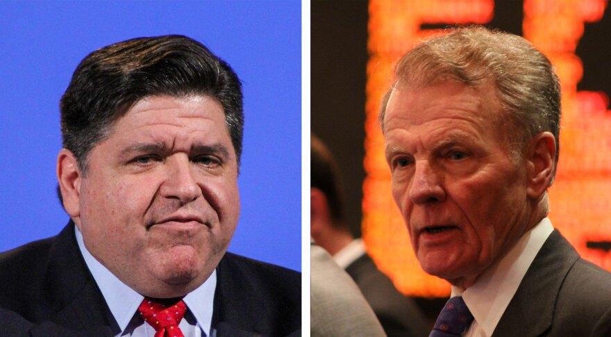 Gov.-elect J.B. Pritzker, left, and House Speaker Michael Madigan