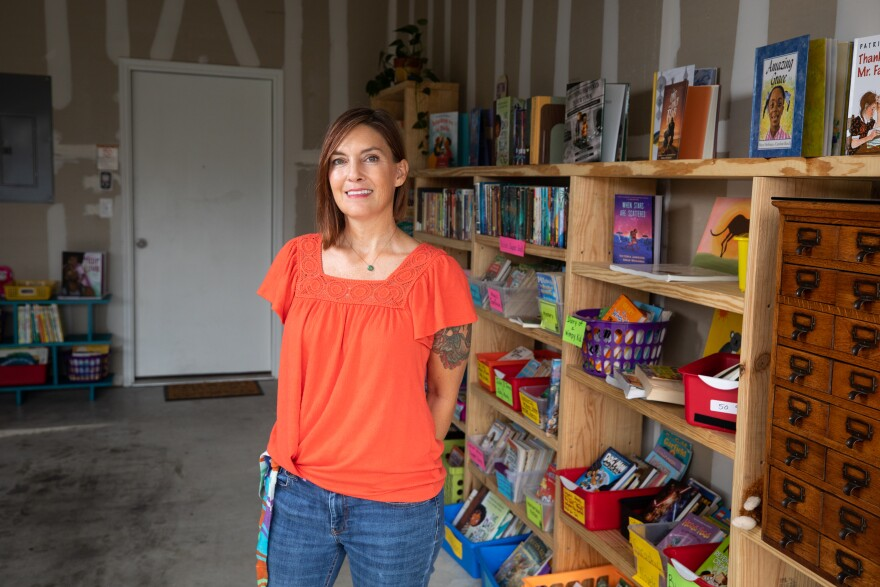 Third-grade teacher Jennifer Martin was worried children could fall behind on reading because schools and libraries were closed, so she started a community library in the garage of her Forest Bluff home.