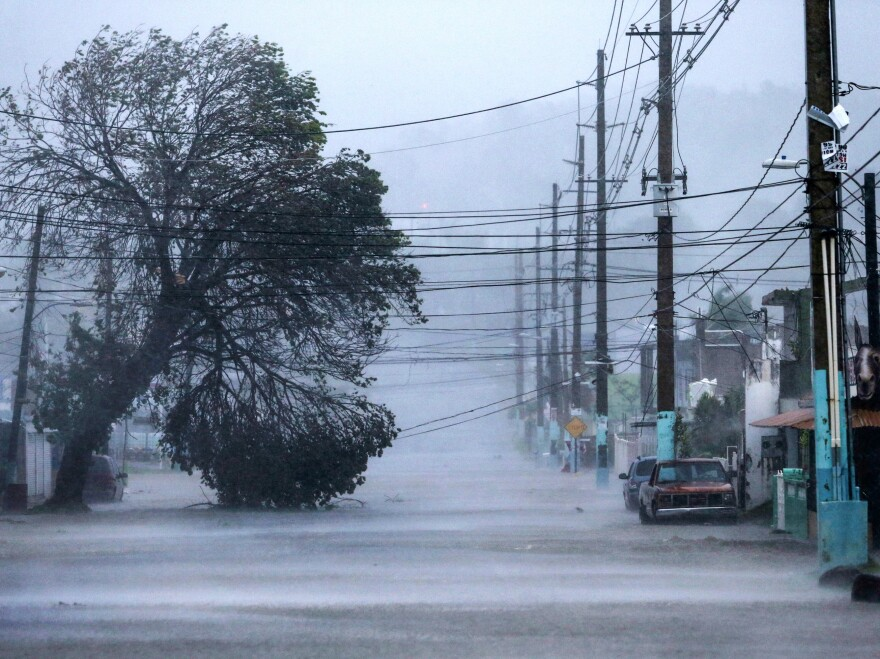 A street in Fajardo, Puerto Rico, lies flooded during the passing of Hurricane Irma on Wednesday.