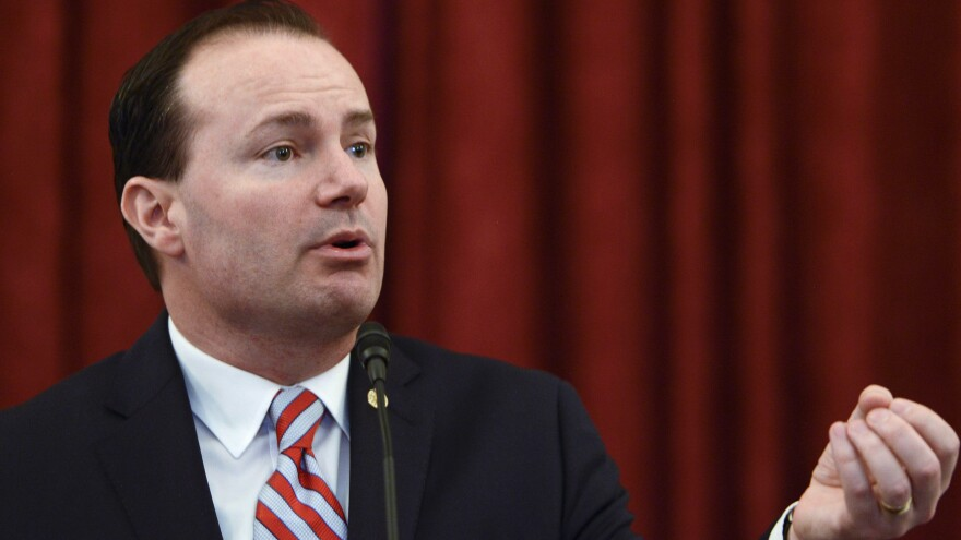 Sen. Mike Lee, R-Utah, speaks during an event on Capitol Hill in 2016. Lee is the only member of the Senate on President Trump's list.