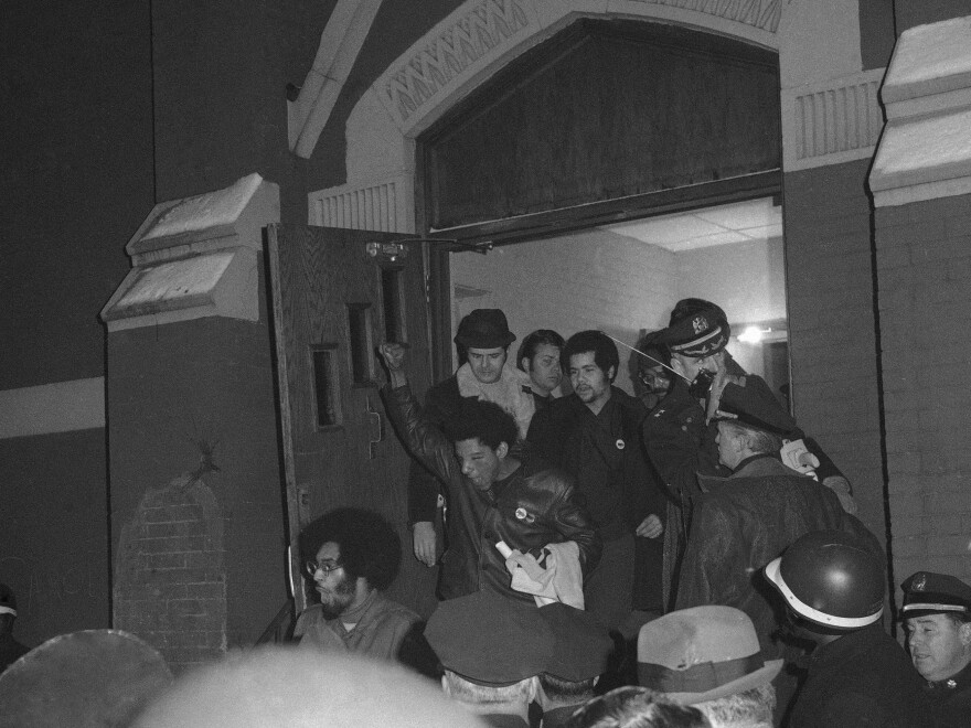 Members of the Young Lords were led by police out of a New York City church after ending a sit-in in 1970.