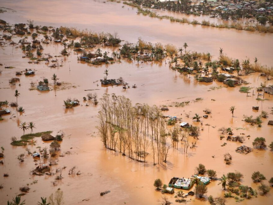 An aerial view of the flooded plane surrounding Beira, central Mozambique, shows acres of submerged land as international aid agencies raced to rescue survivors and meet piling humanitarian needs.
