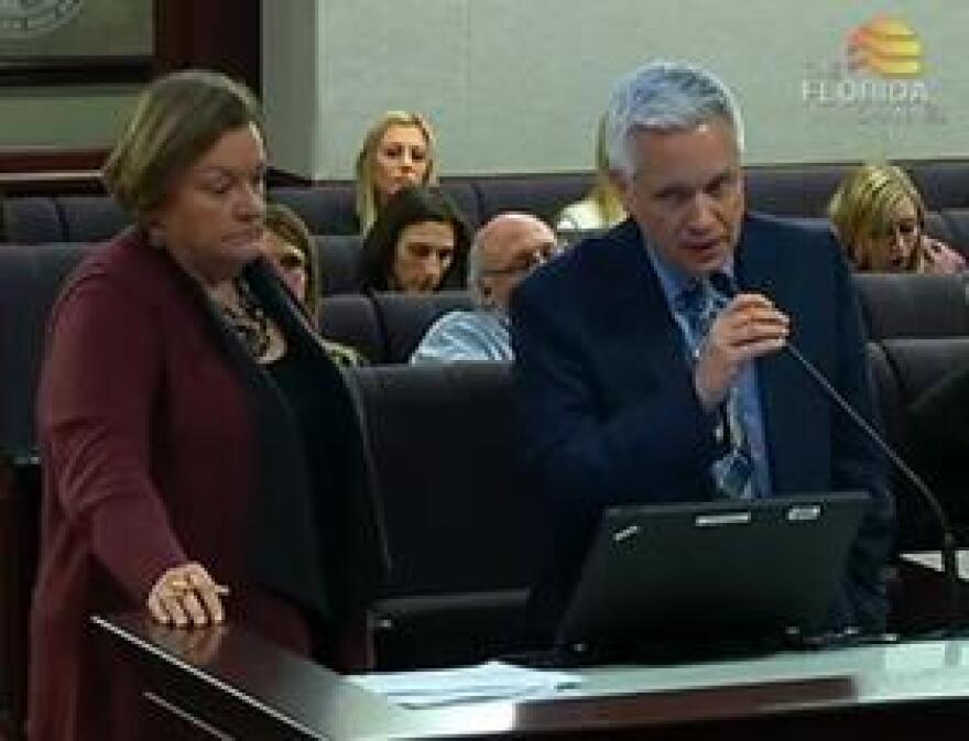 Brad Sassatelli with CGL (right) speaking during Monday's Senate Criminal Justice Committee, while Florida Department of Corrections Secretary Julie Jones (left) looks on.