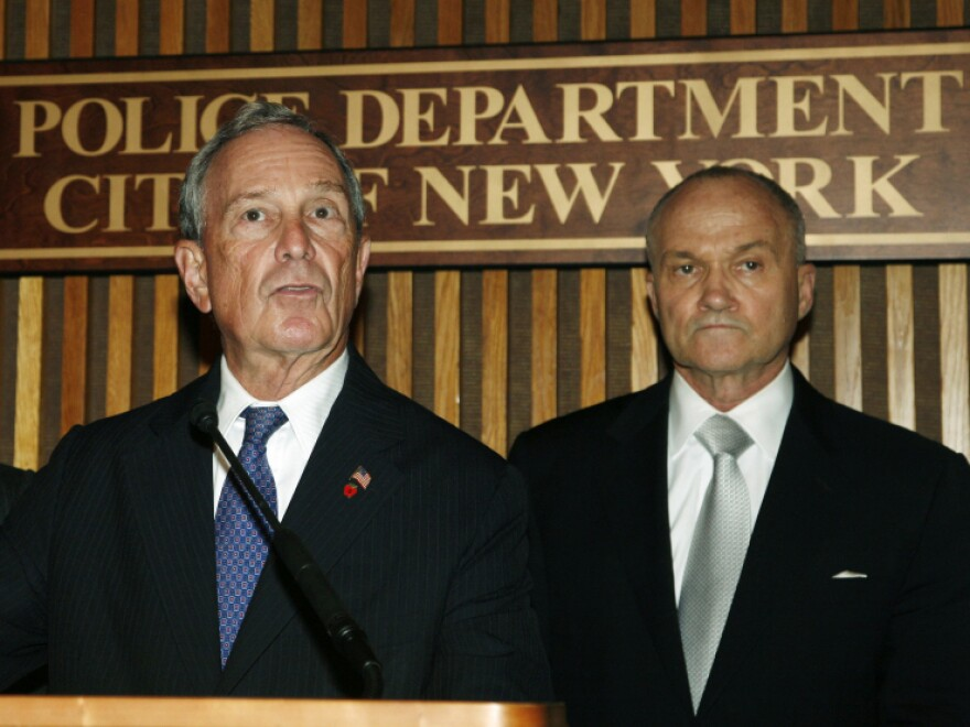 """New York Mayor Michael Bloomberg (left)  and Police Commissioner Raymond Kelly hold a news conference on Thursday to discuss a """"credible but unconfirmed"""" terrorist threat."""