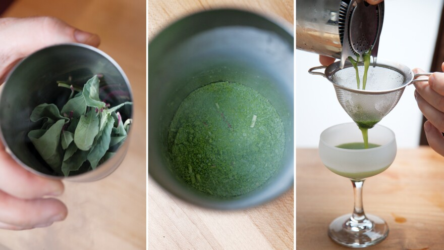 <strong>How to muddle your herbs with liquid nitrogen: </strong>Left: Freeze your herbs. Center: After muddling, it should look like this. Right: Add liquor, let thaw, then add syrups and shake with ice. Strain drink through a tea strainer into a chilled coupe glass.