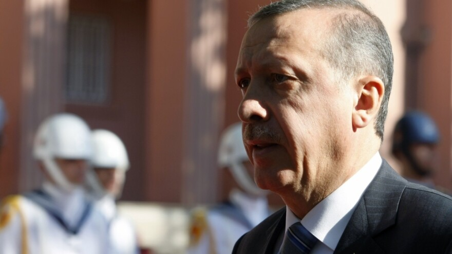 """Turkish  Prime Minister Recep Tayyep Erdogan, shown here in Ankara on Sept. 8, began a tour of the """"Arab Spring"""" countries on Monday. He's visiting Egypt, Libya and Tunisia, where authoritarian rulers have been ousted this year."""