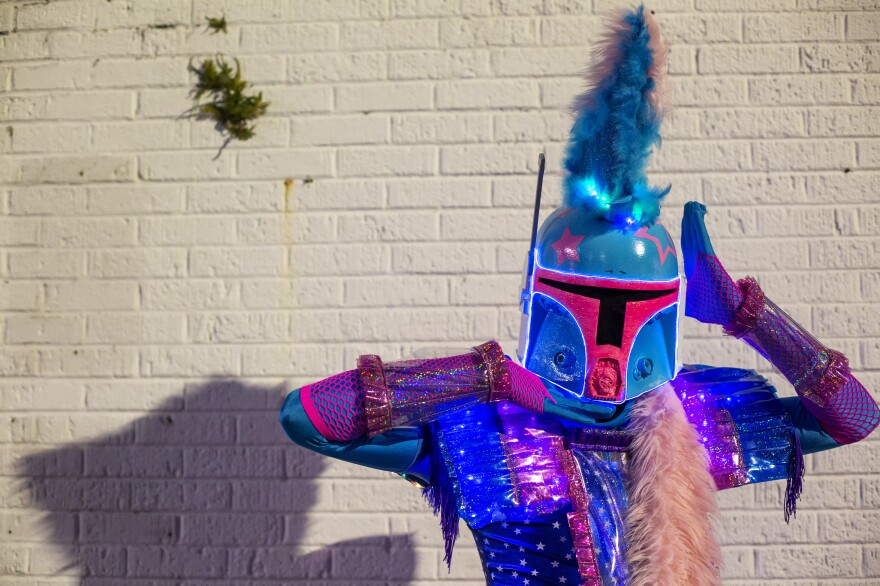 The Rainbow Mandalorian Chris Garnett is a captain of Queer Eye for the Sci-fi, a sub-krewe of LGBTQ cosplayers and their allies.