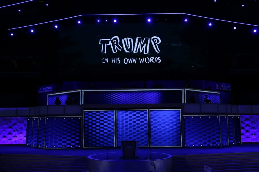 A screen displays a video clip about Republican presidential candidate Donald Trump on the first day of the Democratic National Convention at the Wells Fargo Center, July 25, 2016 in Philadelphia, Pennsylvania. (Alex Wong/Getty Images)