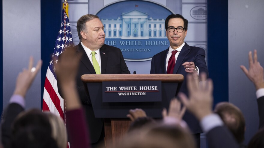 Secretary of State Mike Pompeo (left) and Treasury Secretary Steven Mnuchin answer questions about the new round of sanctions against Iran.