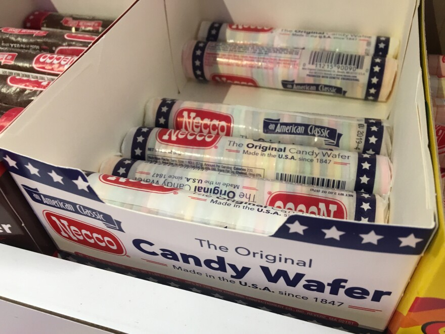 NECCO candies for sale at Sugar Heaven in Somerville, Mass. David Sapers says Sugar Heaven will buy up as many as it can if it looks like NECCO won't survive.