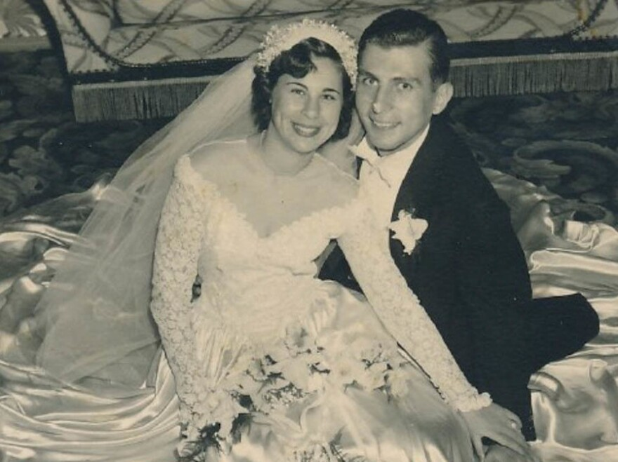 Julia and Joel Helfman on their wedding day in November 1949.