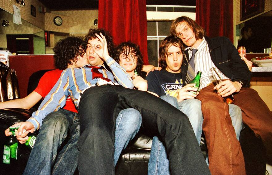 The Strokes backstage in San Francisco in October 2001, the month the band released its debut album, <em>Is This It</em> in the United States.