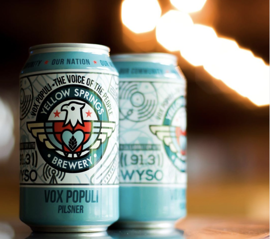 Vox Populi, a collaboration between WYSO and Yellow Springs Brewery, is now available in cans.
