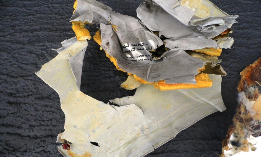 Some of the passengers' belongings and parts of the wreck of EgyptAir flight MS804 are seen as more wreckage found north of Alexandria, in Egypt on May 21. On Wednesday French and Egyptian investigators announced a ship had picked up a ping that appears to be from a flight recorder from the plane, which crashed on May 19.