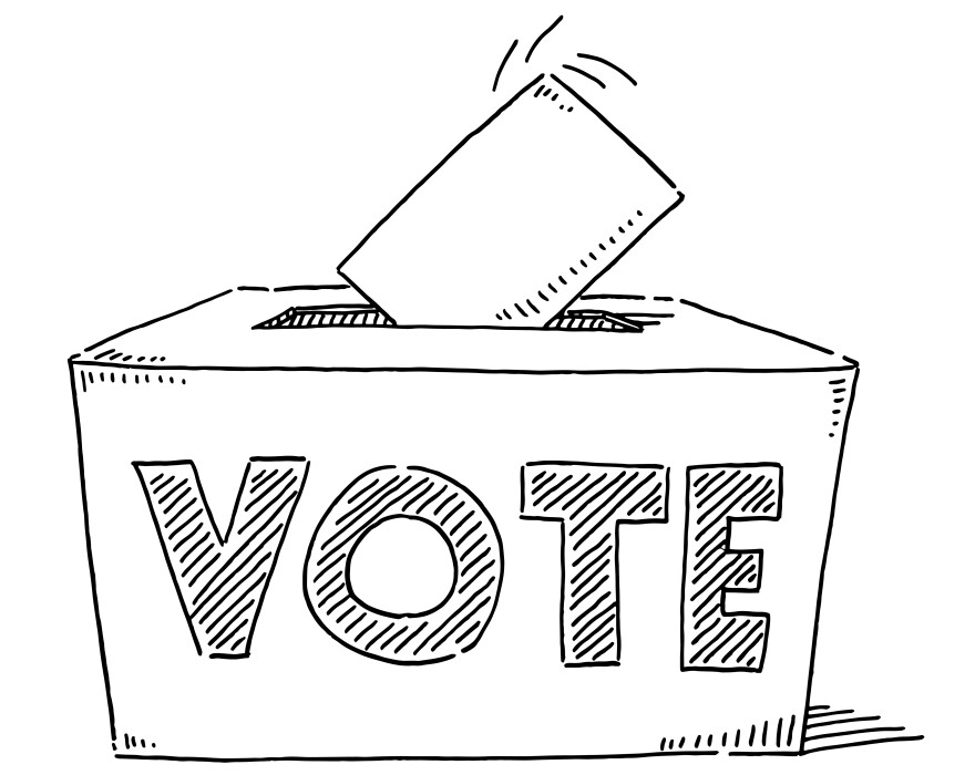 Hand-drawn vector drawing of a Vote Text On a Ballot Box. Black-and-White sketch on a transparent background (.eps-file). Included files are EPS (v10) and Hi-Res JPG.