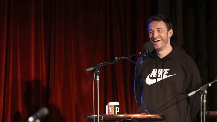 Dan Soder appears on <em>Ask Me Another</em> at the Bell House in Brooklyn, New York.