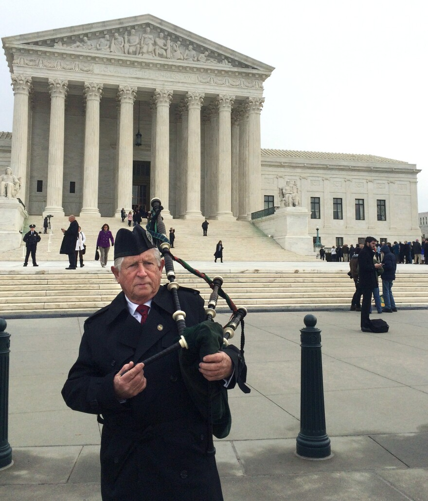Benjamin Williams, who arrived at the Supreme Court at 6 a.m., could be heard playing a Welsh lullaby on his bagpipes in honor of the late Justice Antonin Scalia this morning.