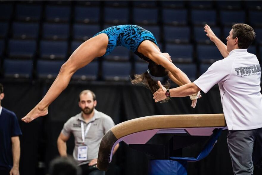 Gymnasts prepare for the P&G Championships at St. Louis' Chaifetz Arena in 2016