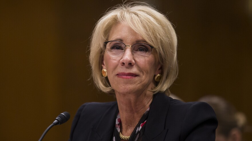 U.S. Education Secretary Betsy DeVos testifies before the Senate education committee on March 28.