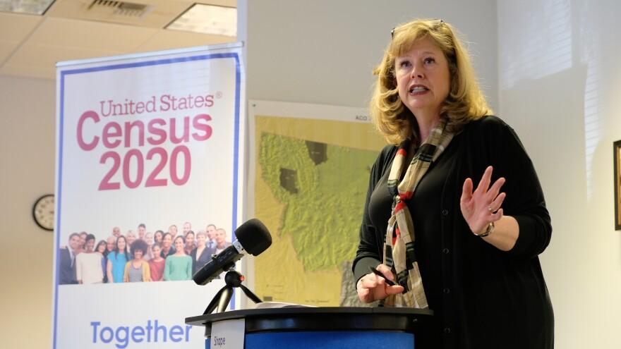 U.S. Census Bureau Regional Director Cathy Lacy speaks at a podium