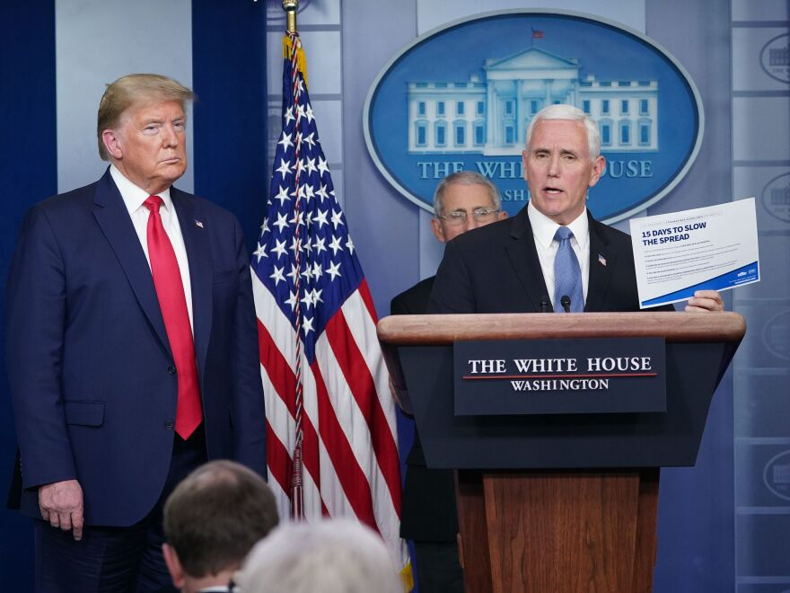 Vice President Mike Pence was a fixture at coronavirus briefings early in the pandemic, brandishing a copy of the White House guidelines to slow the spread.