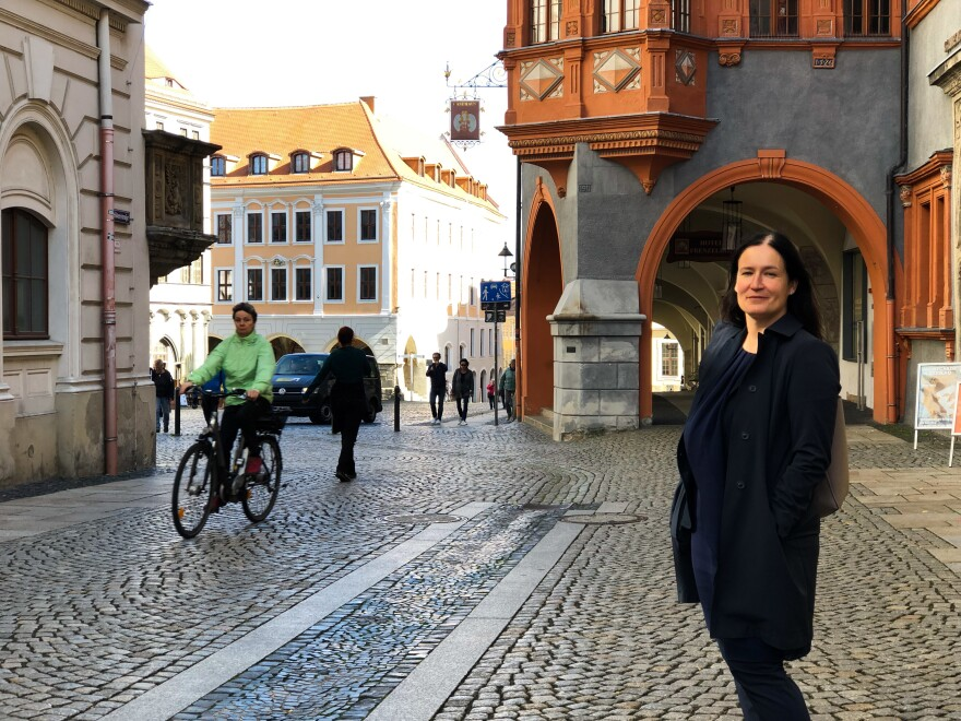 Andrea Friederike Behr runs marketing for Goerlitz. Her team has helped attract Hollywood directors to film historical sequences in the town. The town is also offering a free month's rent for young, skilled workers who want to try living in Goerlitz.