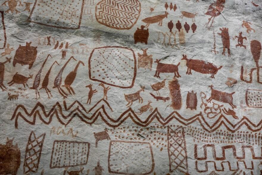 View of rock art at the Cerro Azul hill in Serrania La Lindosa in the Amazonian jungle department of Guaviare, Colombia, on June 8, 2018. (Guillermo Legaria/AFP via Getty Images)