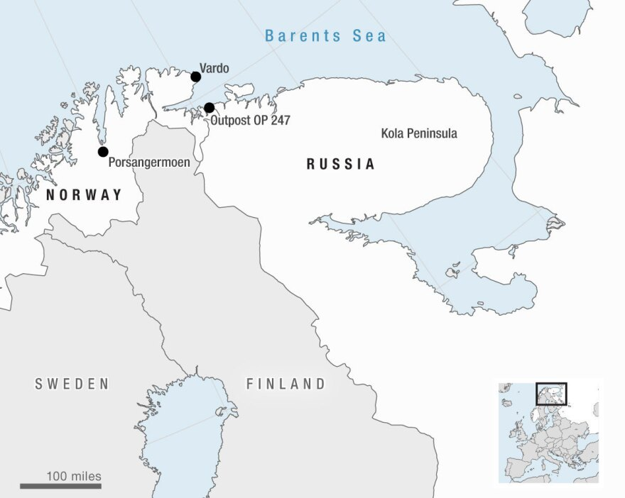 A number of countries crowd the Arctic. Marked here are Porsangermoen, a Norwegian military camp; Vardo, an island in Norway where the U.S. has funded a military radar system; the Norwegian observation post 247 that overlooks Russia; and Kola Peninsula, the home of Russia's Northern Fleet.
