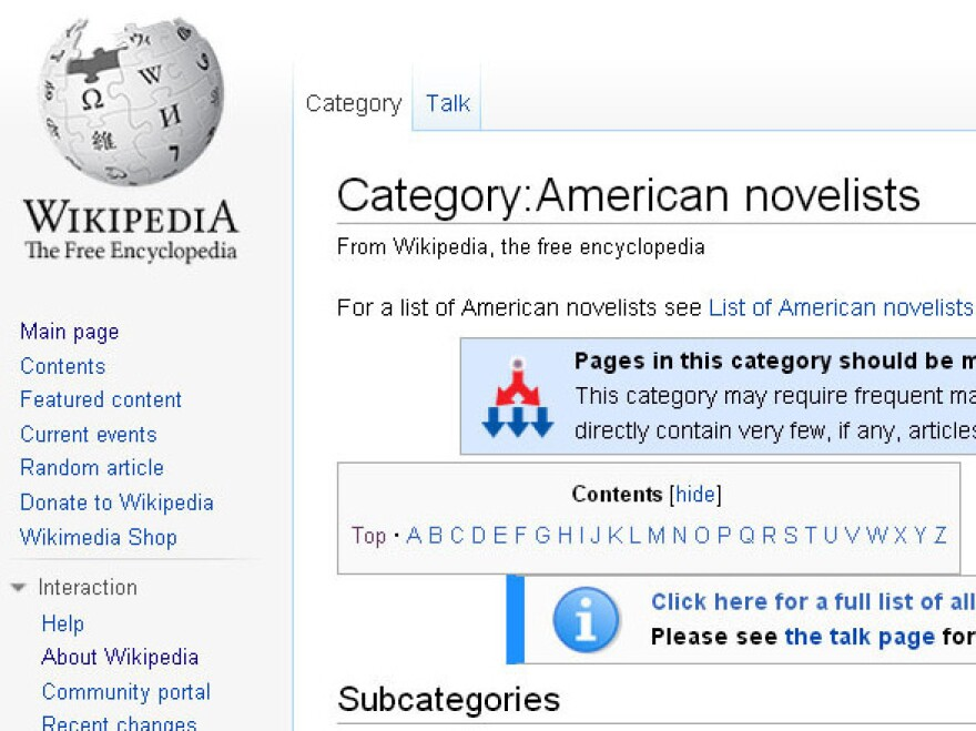 """The <a href=""""http://en.wikipedia.org/w/index.php?title=Category:American_novelists"""">""""American novelists</a>"""" category on Wikipedia now includes a controversial subcategory: """"<a href=""""http://en.wikipedia.org/wiki/Category:American_women_novelists"""">American women novelists</a>."""""""